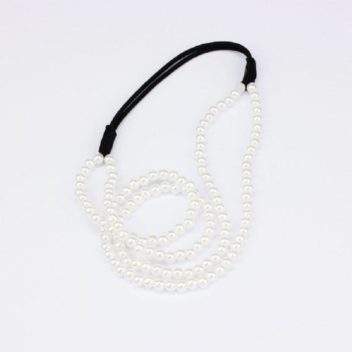 Coromose 1pc Newest Lady Girl Elastic Pearl Hair Hoop Double Layer Lovely Pearl Hair Band Decoration Headband (white)