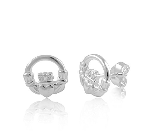 Earrings Claddagh Celtic (Sterling Silver Celtic Heart Claddagh Stud Earrings - 10mm)