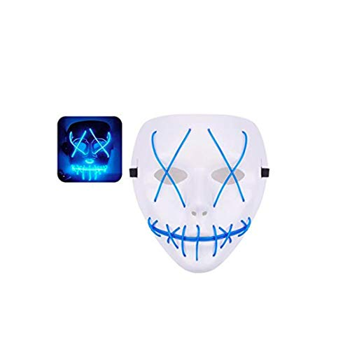 USA Stock Purge Light Up LED Rave Mask for Festival Cosplay Purge Costume for EDM (Blue)
