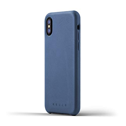 Price comparison product image Mujjo Full Leather Case Compatible with iPhone Xs,  iPhone X / Covered Buttons,  1MM Protective Screen Bezel,  Japanese Suede Lining (Blue)