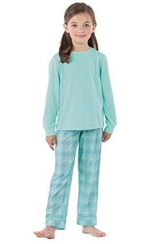 (PajamaGram Big Girls Pajamas Set - Jersey 2 Piece Girls Plaid Pajamas, Aqua,)