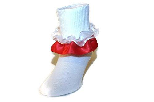 Girls Ruffle Ankle Socks with Satin & Organza in Assorted Colors (New Born, - Ruffle Socks Organza