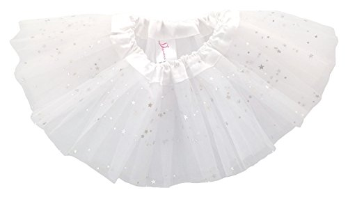 Dancina Baby Girls' Toddlers Tutu Glitter Triple Layer Tulle 6 Months to 2 Years,White,One Size/XS -