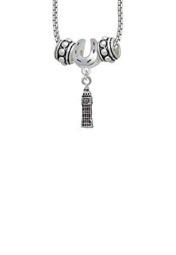 London's Big Ben Clock Tower Horseshoe 3 Bead Necklace