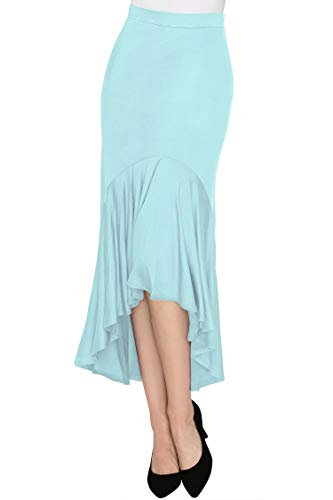Made By Johnny WB1132 Womens Asymmetrical High Low Ruffle Hem Skirt M ()