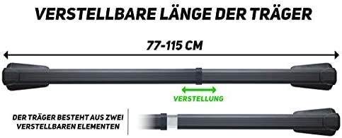 G3 Teleskopdachträger Für Traditionelle Und Integrierte Dachrelinge 77 115 Cm Auto