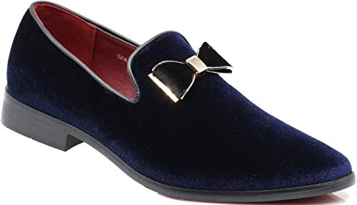 (SPK23 Men's Vintage Bow Tie Velvet Dress Loafers Slip On Fashion Shoes Classic Tuxedo Formal Shoes (9 D(M) US, Navy Blue))