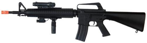 - Well m16-a3 RIS Spring Airsoft Gun Assault Rifle fps-340 w/Aiming Sight, Flashlight, high Capacity Magazine(Airsoft Gun)