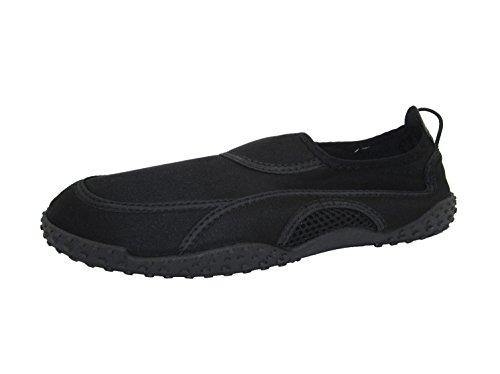 P26 Mens Wasser Schuhe Aqua Socken einfach auf / leicht aus schnell trocken Pool Beach, Yoga und Bewegung Schwarz
