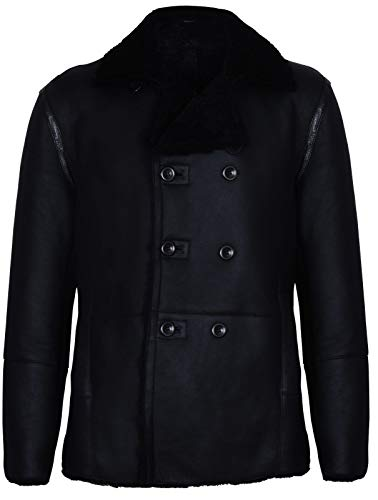 - Mens Black German Double Breasted Real Sheepskin Shearling Leather Jacket Coat 2XL
