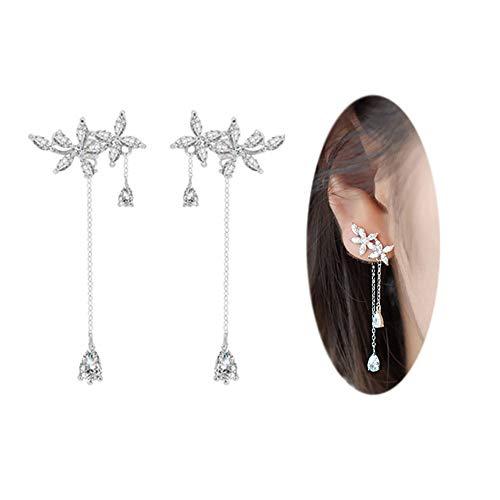 Dangle Jacket - Amaer 925 Sterling Silver Leaves Wrap Earrings Crawler for Women Dainty Flowers Threader Tassel Chain Jackets Earrings