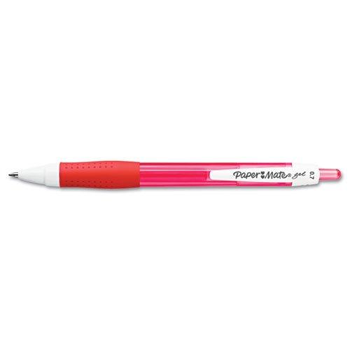 Paper Mate Roller Ball Retractable Gel Pen, Red Ink, Medium, Dz