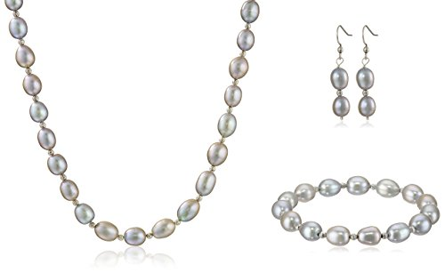 - Sterling Silver Grey Freshwater Cultured Pearl Necklace, Bracelet and Dangle Earrings Jewelry Set (8-9mm)