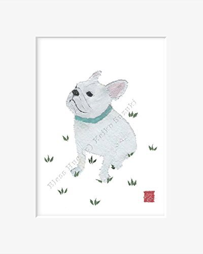 french-bulldog-art-matted-print-for-8-x-10-inches-frame-white-french-bulldog-gifts-by-bless-hue-arti
