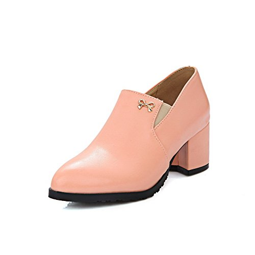 AllhqFashion Damen Ziehen auf Mittler Absatz PU Leder Rein Spitz Zehe Pumps Schuhe Pink