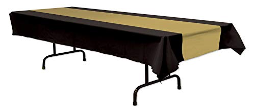 "Beistle 57940-BKGD Black and Gold Tablecover, 54 Inch by 108"" from Beistle"