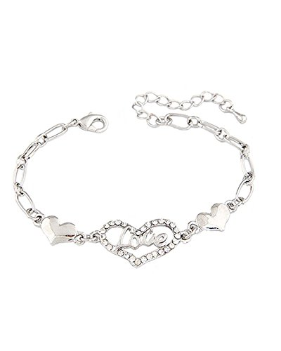 Young & Forever Women's Navratri Diwali Special Love Heart Silver Toned Diamante Bracelet Gold by Young & Forever