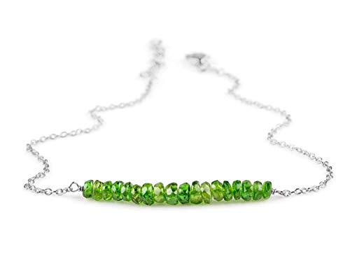 - Beaded Bracelet Gemstone Chrome Diopside | Green Chrome Diopside Jewelry | Boho Bracelet | Bridesmaid Bracelet | Birthday Birthstone | Sterling Silver Chain | Gift for Mom