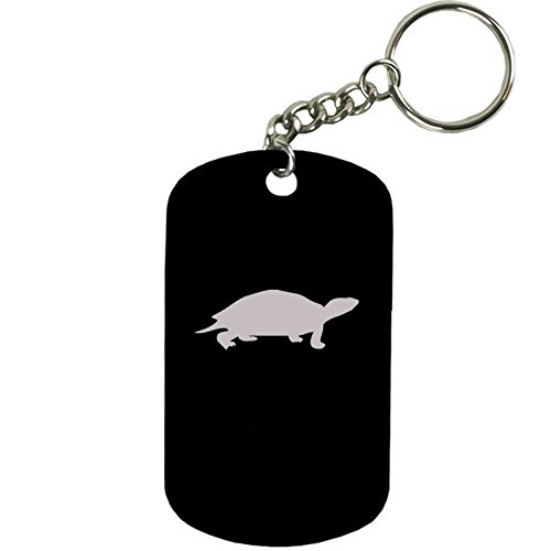 Personalized Engraved Custom Turtle 2-inch Colored Anodized Aluminum Customizable Keychain Dog Tag, Black