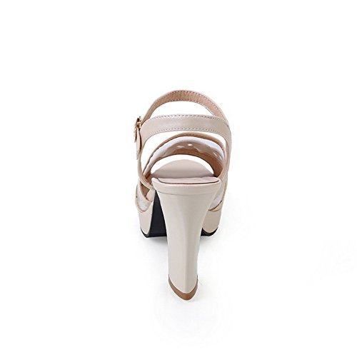 AllhqFashion Women's PU Solid Buckle Open Toe High-Heels Platforms-Sandals Beige towaL1