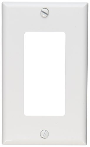 Leviton 122-80401-NW 1-Gang Decora/GFCI Device Wallplate, Standard Size, Thermoplastic Nylon, Device Mount, White - Outlet Wall Plate Cover
