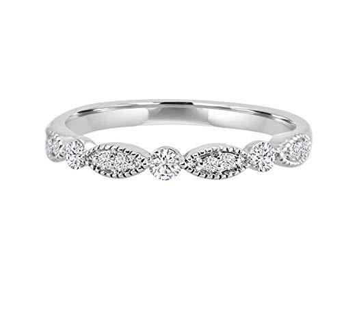 - Samaya Jewels 1/5ct Diamond 10k White/Yellow/Rose Gold Milgrain Marquise and Dot Wedding Band Ring (White-Gold)