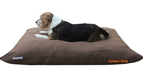 "Dogbed4less Do It Yourself DIY Pet Bed Pillow Duvet Denim Cover + Waterproof Internal case for Dog/Cat at Large 48""X29"" Brown Color - Covers only"
