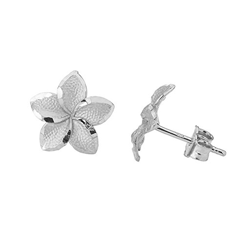 (Fine 10k White Gold Hawaiian Plumeria Flower Stud Earrings)