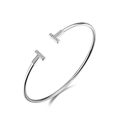 925 Siver Plated Genuine Platinum Rhinestone White Double Letter T Women Cuff Bracelet,60MM