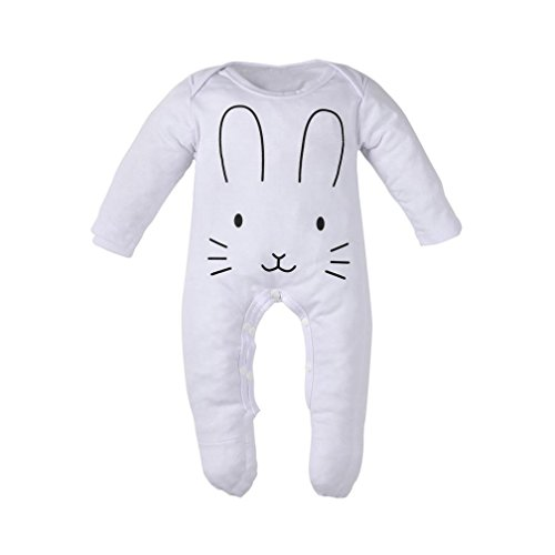 Baby Cute Onesie Boy Girl Bunny Print Long Sleeve Footed Coverall Sleep and Play (0-6 Months, White) (Long Sleeve Footed Coverall)
