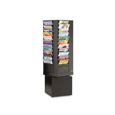 Safco - Steel Rotary Magazine Rack 44 Compartments 14W X 14D X 48H Black ''Product Category: Office Furniture/Display Racks & Cases''