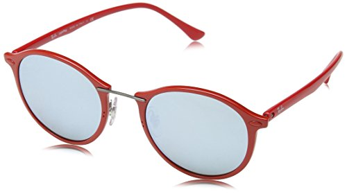 Red Ray Ban Sunglasses - Ray-Ban INJECTED UNISEX SUNGLASS - SHINY RED Frame GREEN MIRROR SILVER Lenses 49mm Non-Polarized