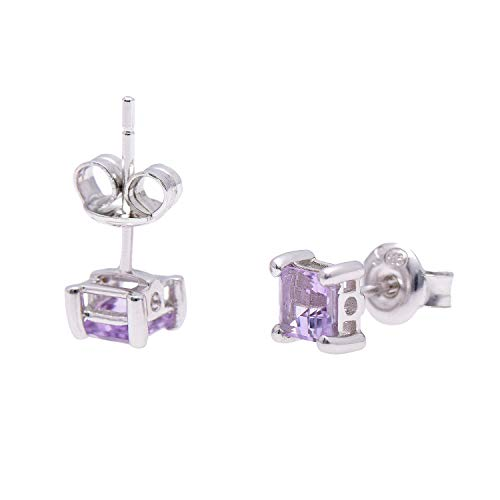 Paialco 925 Sterling Silver Square Stud Earrings Natural Amethyst 5x5MM