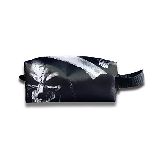 Halloween Death Scary Skull Alien Multi-Function Key Purse Coin Cash Pencil Travel Makeup Toiletry Bag Box Case