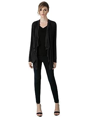 Elbon Boutique Womens Comfy Rayon Drape Collar Long Sleeve Cardigan