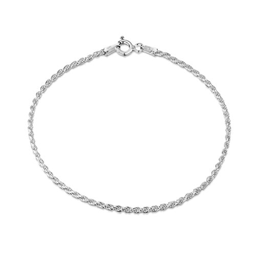 Amberta 925 Sterling Silver 1.5 mm Twisted French Rope Chain Bracelet Length 7