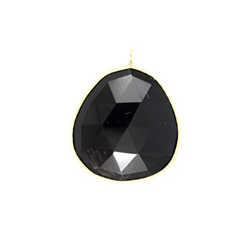 Black Onyx Pendant (22x20 Freeform Rose Cut) Set in 14K Yellow Gold