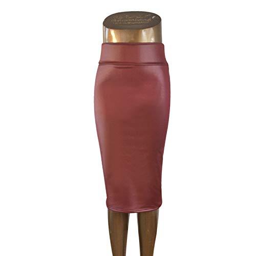 Reveryml Femme Jupes de Bureau Taille Haute en Faux Cuir pour Femme Wine Red