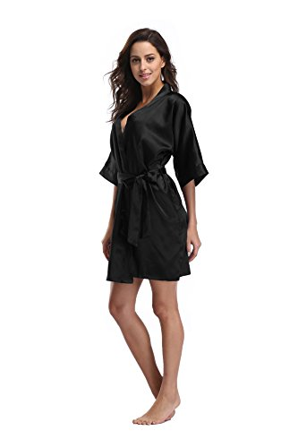 Luvrobes Women's Satin Kimono Robe, Solid Color, Short(Black, XL)