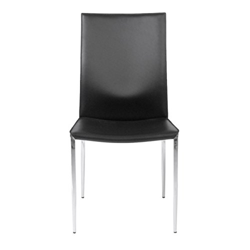 Euro Style Max Leather Side Dining Chair with Chromed Steel Base, Set of 2, Black (Euro Chair Style Leather)
