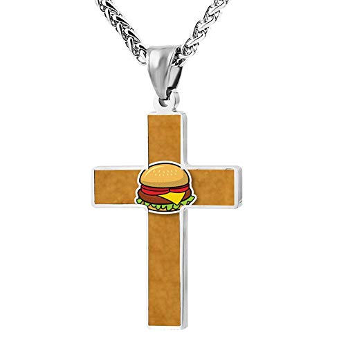 Price comparison product image Simple Small Zinc Alloy Religious Cross Necklace for Men Women Print Hanbag Cartoon