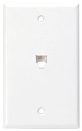 Leviton 40249-W Standard Telephone Wall Jack, 6P4C, Screw Terminals, White (Telephone Switch)