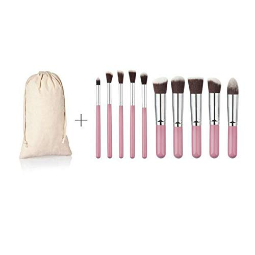 10PCS Cosmetic Makeup Brushes Set Eyeshadow Foundation Powder Blusher+ Brush Bag (Colour - 10PCS Pink Brushes + White Bag)