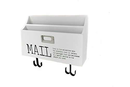 Blu Monaco Mail Organizer Wall Mount with Key Rack Hooks - Wood - Two Tier with Mail Print – for Office, Kitchen, (Monaco Wood)