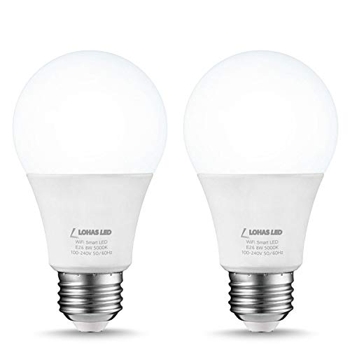 LOHAS Smart Light Bulb Dimmable LED Daylight Bulbs, A19 WiFi LED Bulbs, Compatible with Amazon Alexa, Google Home, Remote Control by Smartphone iOS & Android, 50W LED Light Bulb Equaivalent, 2Pack