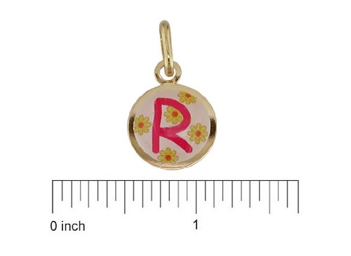 18K Yellow Gold Pink R enamel Medal (11mm/18mm with Bail)