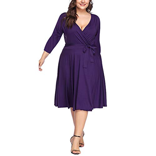 FRENDLY Women's Seven-Quarter Sleeve Waist Dress Plus Size A-Line Dress Elegant Party Dress Casual Work Dresses (Madden 17 Best Sliders)