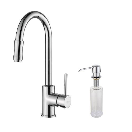 Kraus KPF-1622-KSD-30CH Single Lever Pull Down Kitchen Faucet and Soap Dispenser (Single Lever Pull)