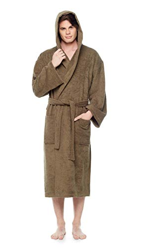 Arus Men's Hooded Classic Bathrobe Turkish Cotton Robe with Full Length Options (XXL,Army Green)