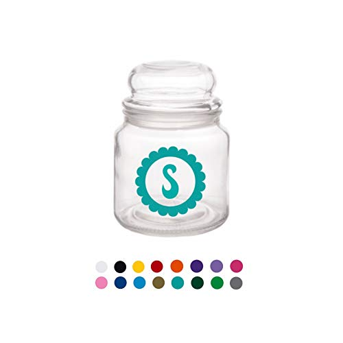 (Initial with Scalloped Border Glass Jar with Lid - Great gift for the person who has everything!)